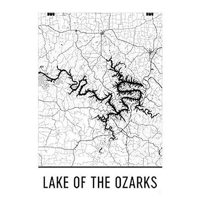 Amazon Com Modern Map Art Lake Of The Ozarks Missouri Ozark Trail