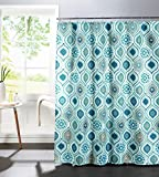 Curtains Ideas Creative Home Ideas Diamond Weave Textured 13-Piece Shower Curtain with Metal Roller Hooks, Olina in Spa