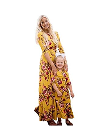 e494c7792688 Mother Daughter Floral Long Sleeve High Waist Long Maxi Dress Family  Matching Dress (Yellow Kid