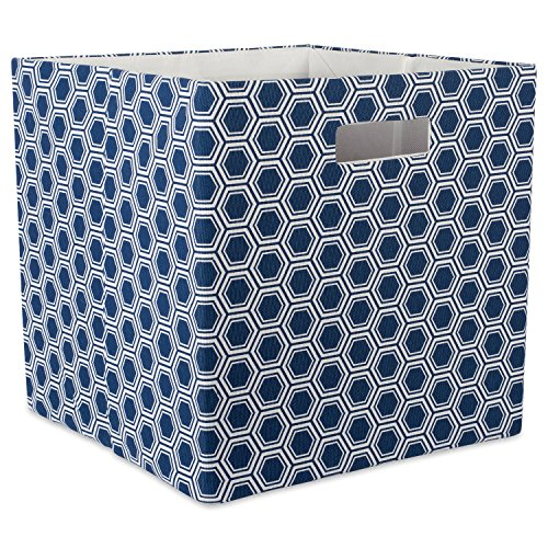 DII Hard Sided Collapsible Fabric Storage Container for Nursery, Offices, Home Organization, (13x13x13) - Honeycomb Nautical (Hard Cube)