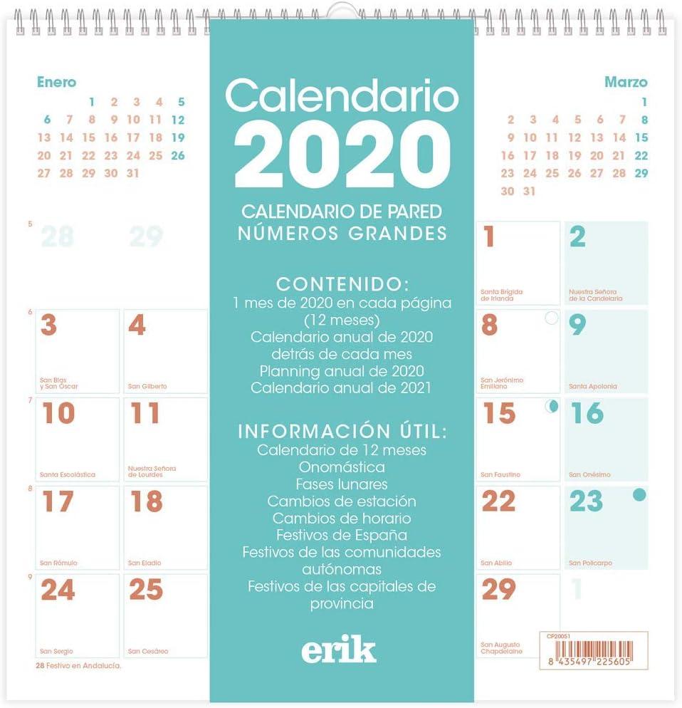 Calendario Ucl 2021 Amazon.: ERIK – Generic Wall Calendar 2020, 30 x 30 cm