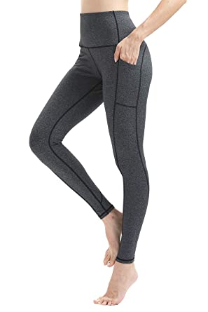 ee9851cd2d521 Vogyal Women's High-Waist Tummy Control Yoga Pants with Pockets for Running  Workout -Grey