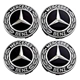 #2: Searlleng 4 pieces 75mm Black Center Wheel Hub Caps For Mercedes-Benz,Applicable to all models