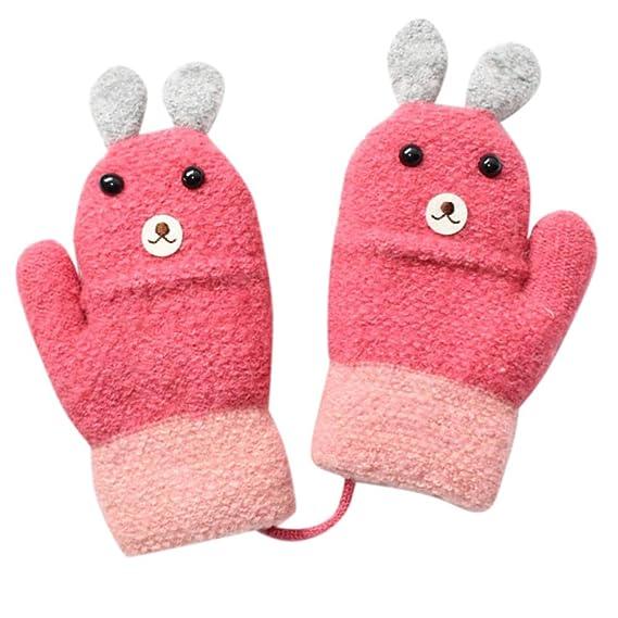 Pink Thicken Kids Gloves Full Fingers Plush Cartton Animals Halter Winter Mitten