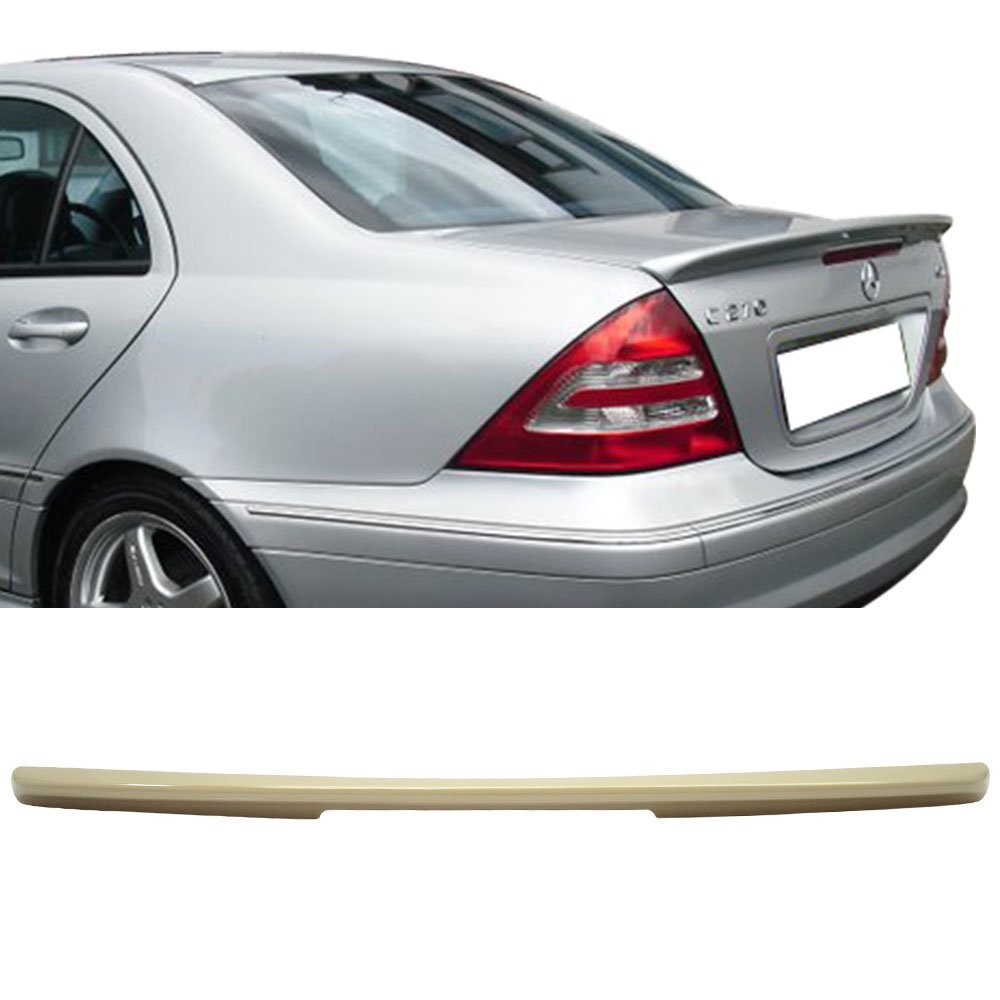 Trunk Spoiler Fits 2001-2007 Benz C-Class W203 | AMG Style Unpainted ABS Added On Lip Wing Bodykits by IKON MOTORSPORTS | 2001 2002 2003 2004 2005 2006 2007
