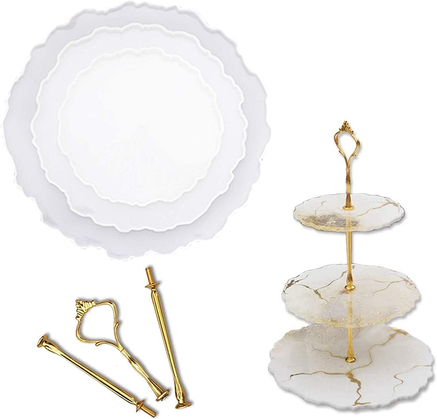 A 3 Tier Cake Stand Silicone Resin Tray Molds,DIY Irregular Epoxy Resin Agate Casting Mold