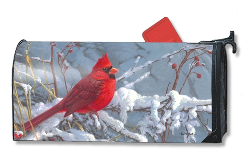 Cardinal in Snow Winter Large Mailbox Cover Berries Oversized MailWraps