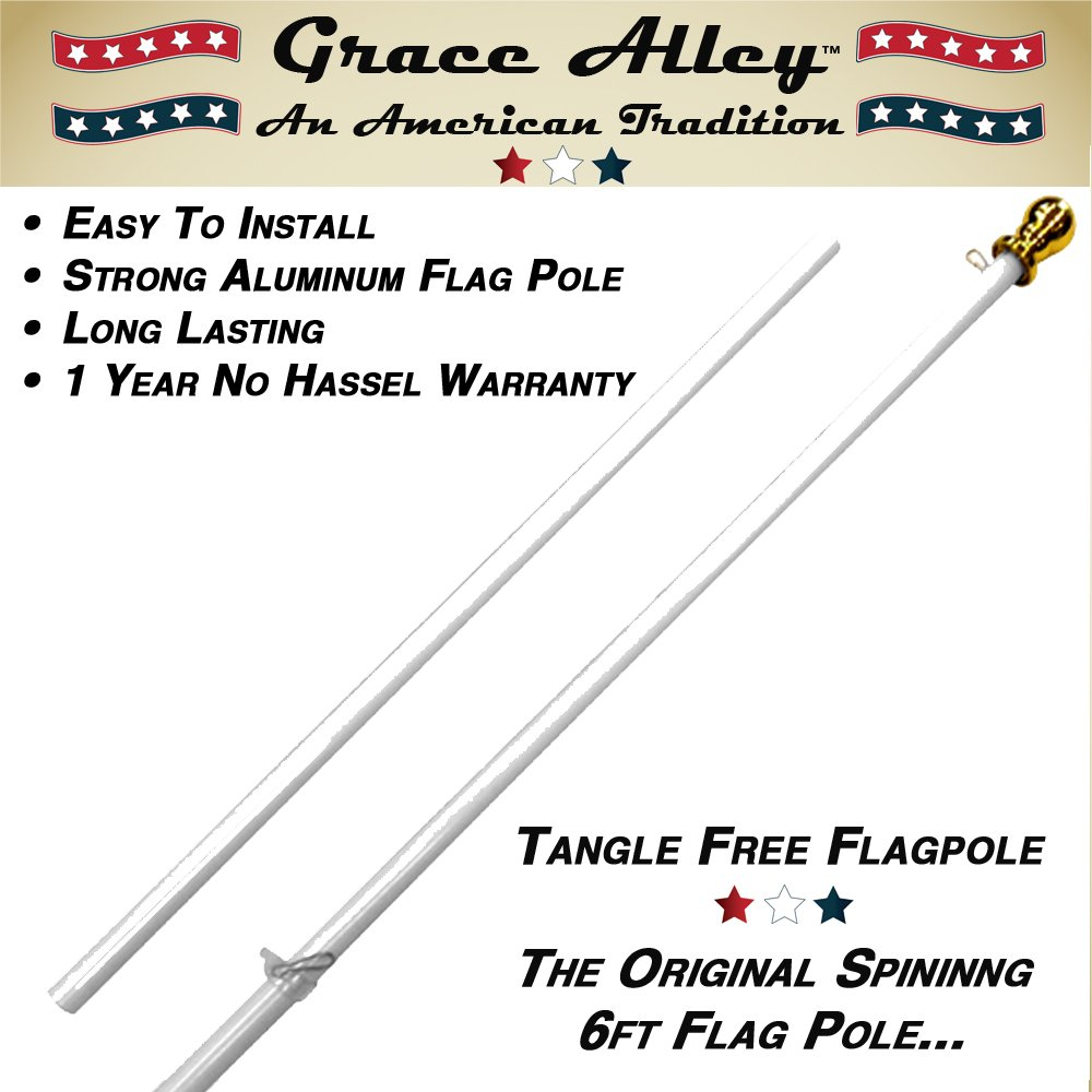 Flag Pole: Tangle Free Spinning Flagpole Residential or Commercial 6ft Flag Pole (White) by Grace Alley (Image #5)