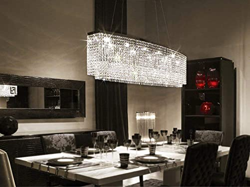7PM Rectangle Crystal Chandelier Modern Chrome Pendant Light Contemporary Clear Beads Ceiling Lighting Fixture