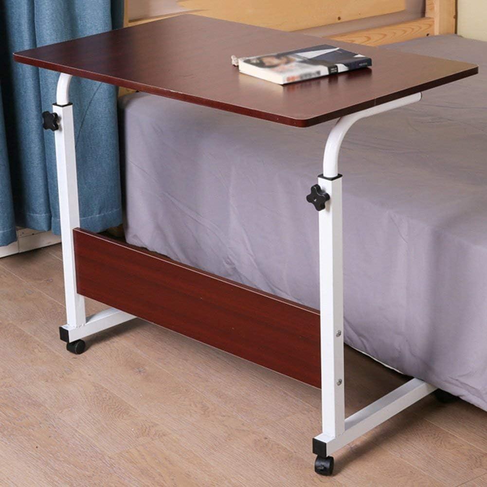 ラップトップデスクポータブルスタンディングベッドソファテーブル多機能高さ調節可能プーリー読書本、5色2サイズ(色:ホワイトメープル、サイズ:80x40CM)