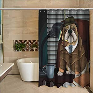"""English Bulldog Womens Shower Curtain Traditional English Detective Dog with a Pipe and Hat Sherlock Holmes Image Bathroom Decoration 108""""x72"""",Multicolor"""