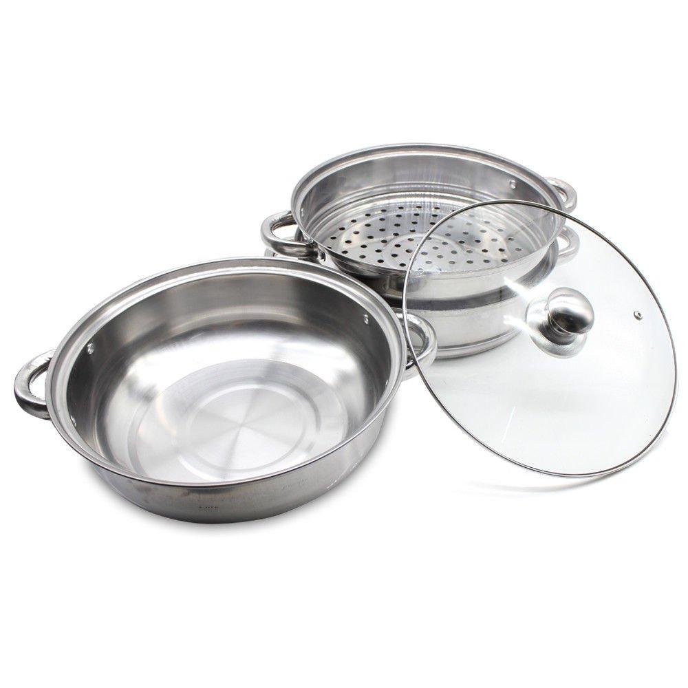 Ideal para porciones peque/ñas o cacerolas Acero Inoxidable YUNRUX 3 Pisos Olla de Vapor con Tapa de Cristal