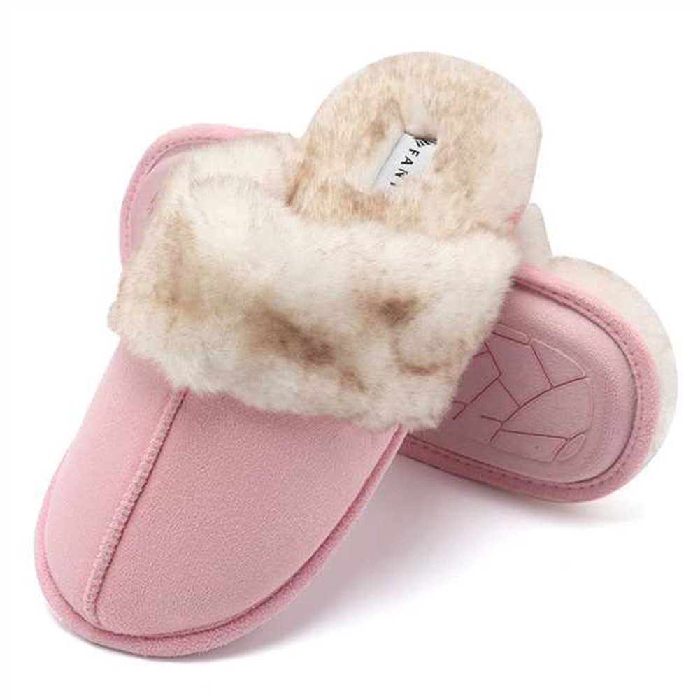 CIOR Fantiny Women's Slippers Real Fur Lining Slip-on Clog Scuff House Shoes Indoor & Outdoor-U118WMT010-pink-F-40.41