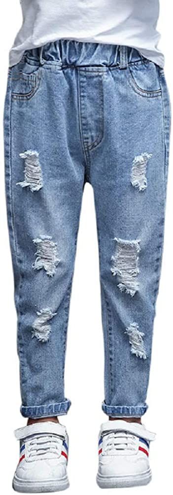 Jojobaby Big Girls Distressed Ripped Hole Jeans Fashion Teens Light Blue Slim Denim Pants