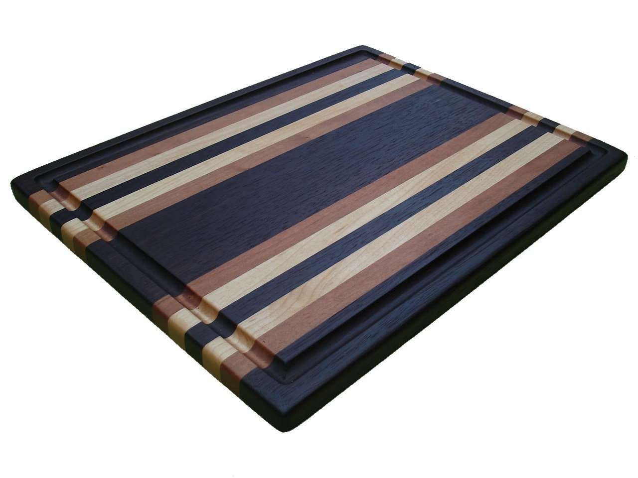 Coastal Christmas Tablescape Décor - Handmade Manhattan Series walnut, cherry & maple extra-large juice groove cutting board by TrimWoodworks