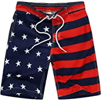 Wrrkayly Toddler Baby Boy American Flag Swim Trunks 4th of July Drawstring Star Stripe Beach Shorts Independence Day…