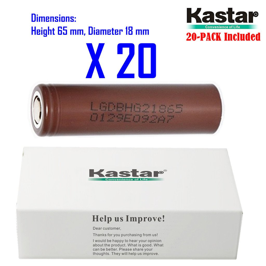 Kastar 18650 (20-PACK) LGDBHG21865 High Drain (35A Max. current load) Lithium-ion Battery, HG2 3.6V 3000mAh Rechargeable Flat Top for Electric Tools, Toys, LED Flashlights and Torch ect.