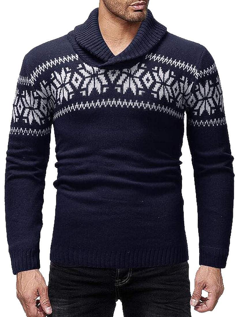 ARTFFEL Men Snow Lapel Knit Crew Neck Casual Pullover Sweater Jumper Top
