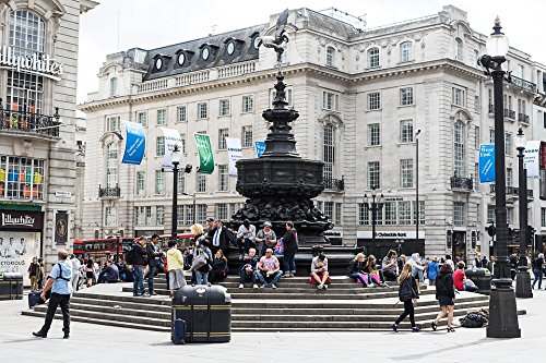 Home Comforts Peel-n-Stick Poster of London Piccadilly Circus Soho People United Kingdom Poster 24x16 Adhesive Sticker Poster Print