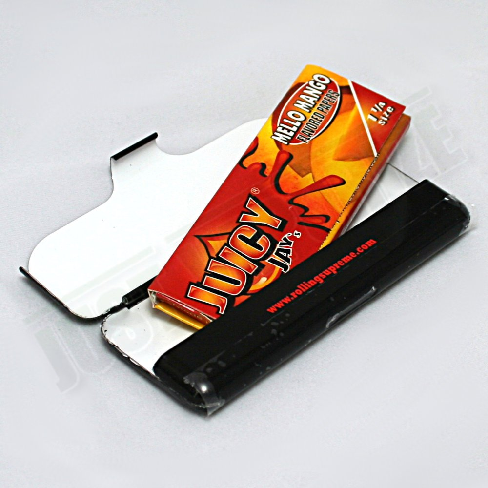 Juicy Jay's Mello Mango Rolling Paper and Tin Combo + Beamer Smoke Sticker