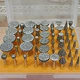 Gimiton 50 pcs 1/8-Inch Shank Diamond Tipped Coated Rotary Grinding Head Diamond Burr Set for Jewelry,Glass,Stone,Ceramic,Gemstones Lapidary (50-pack)