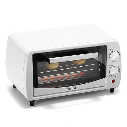 Klarstein Minibreak – Mini Horno Ultra Compacto 11 L con Temporizador y Temperatura hasta 250 °C (800 W, Placa y Parrilla, 2 Elementos de calefacción) ...