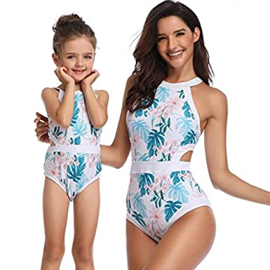 d84d58d34a Mnyycxen Mommy and Me One Piece Swimsuit Family Matching Mom Girls Bathing  Suit Floarl Print Swimwear