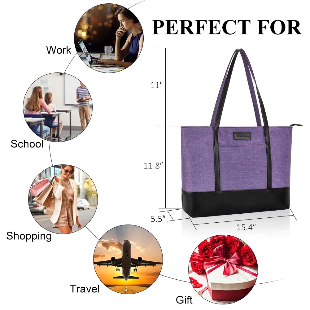 Laptop Tote Bag,Fits 15.6 Inch Laptop,Womens Lightweight Water Resistant Nylon Tote Bag Shoulder Bag Ideal for Her(C-Purple) by Sunny Snowy (Image #3)