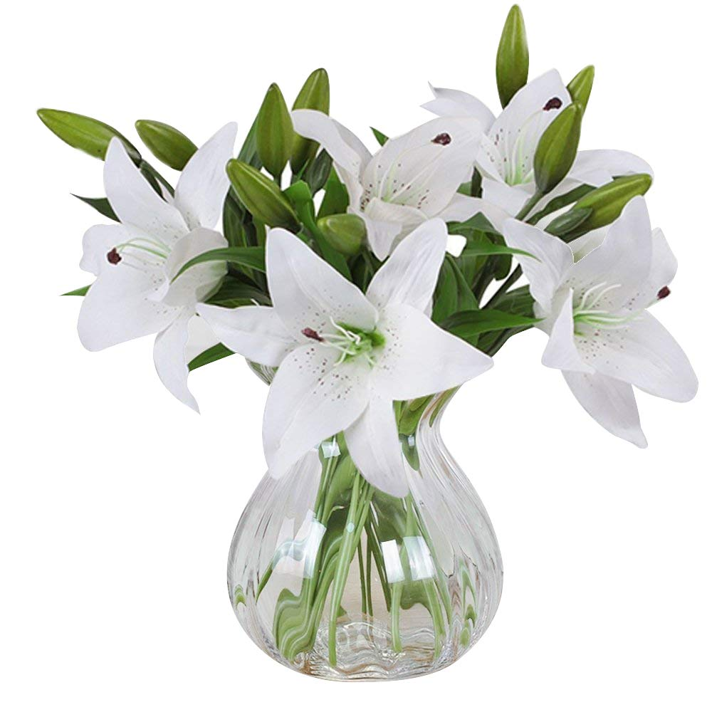 Artificial flowers meiwo 5pcs artificial lillies with 3 buds full artificial flowers meiwo 5pcs artificial lillies with 3 buds full bloom artificial latex real touch flowers for home decor wedding parties offices izmirmasajfo