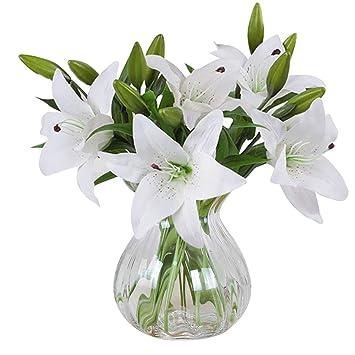 Meiwo Kunstliche Blumen 5 Stuck Real Touch Latex Kunstliche Lilien