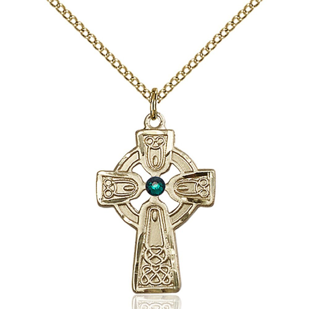 Gold Filled Celtic Cross Pendant with 3mm May Green Swarovski Crystal 1 x 5/8 inches with Gold Filled Lite Curb Chain