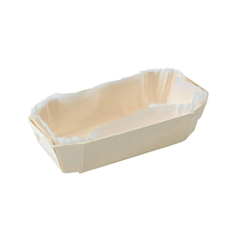 "PacknWood 210NBAKE105 Petit Coeuri Wooden Baking Mold - 5 oz - 4.5 x2.5 x 1.3"" - 350 per case"