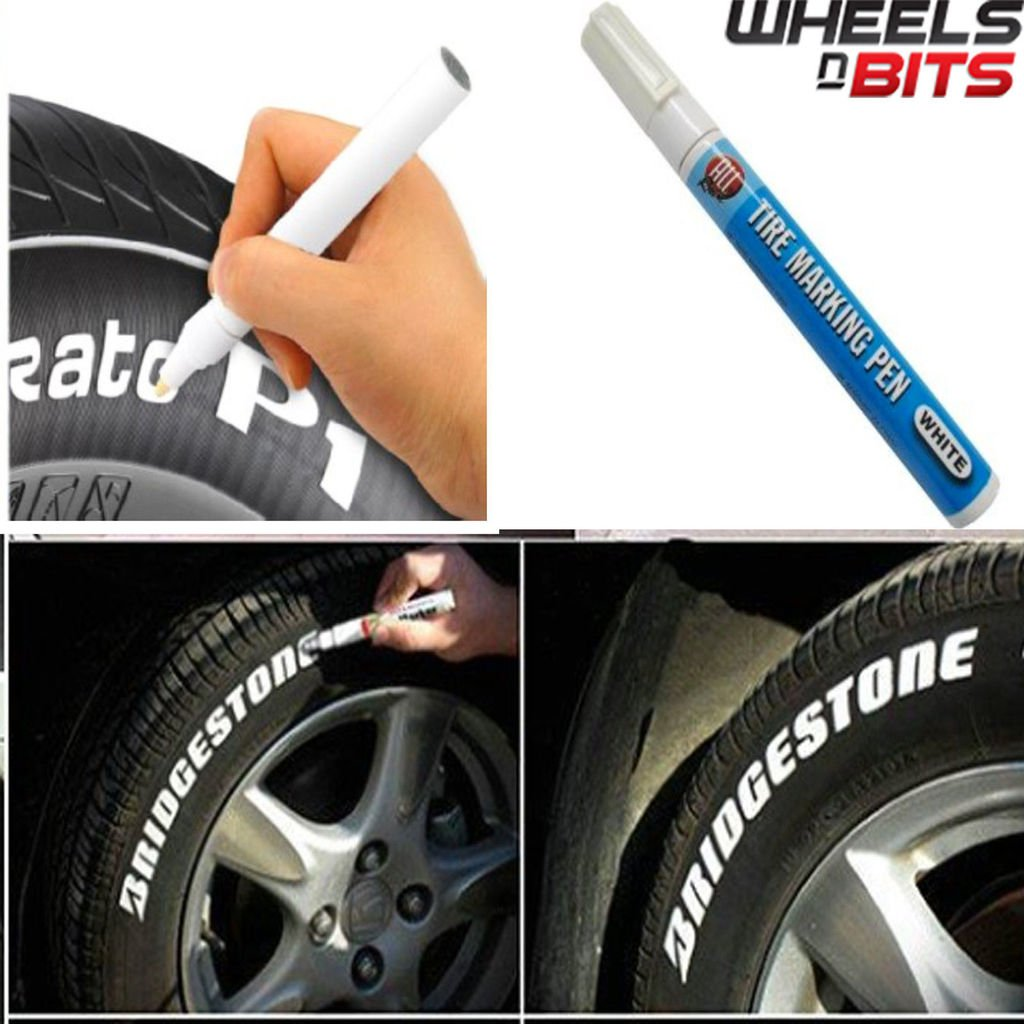 Wheels N Bits 2 Pack Car Motorcycle Cycle Tyre Permanent white paint marker pen most surfaces