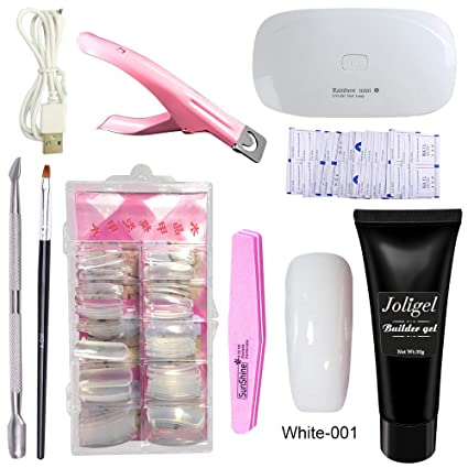 Joligel Polygel Uñas Kit Completo con Lámpara UV LED, Gel Constructor Blanco + Moldes Tips