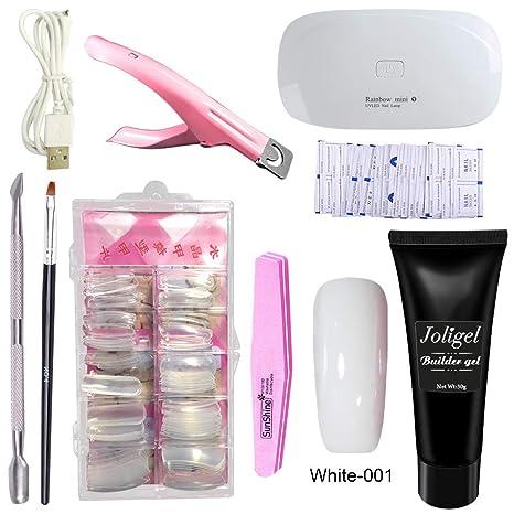 Joligel Polygel Uñas Kit Completo con Lámpara UV LED, Gel Constructor Blanco + Moldes Tips