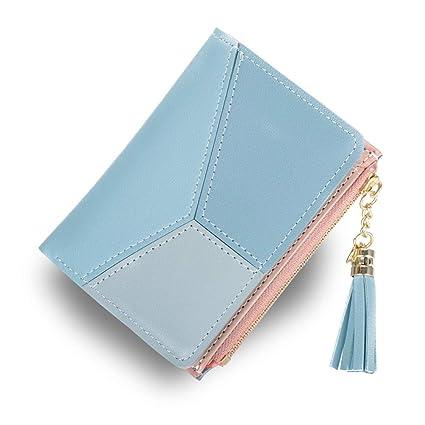 Cartera Corta Mujer KOOGOO Tassel PU Cuero Billetera Multi- Slots de con Cremallera Monedero (Azul)
