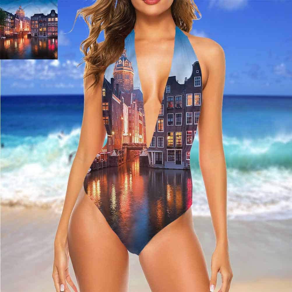 Bikinis Halter Maillot de bain Wanderlust, Seattle City Buildings for Independence Day Multicolore 05