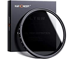 K&F Concept 82mm Variable ND Filter Ultra Slim Fader Variable Neutral Density ND2-ND400 Optical Glass with Lens Cleaning Clot