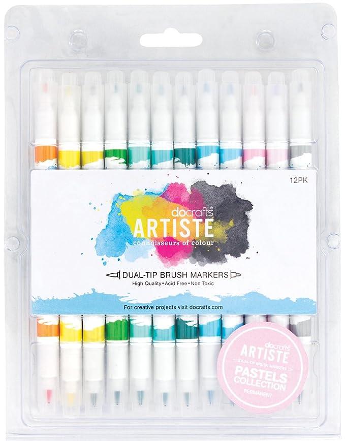 Artiste Lot de 12 marqueurs double pointe pinceau Couleurs Pastel