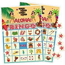 luck sea Luau Bingo Game Party Supplies - Hawaiian Tropical Decorations Favors 24 Players