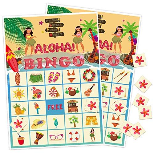 Luck Sea Luau Bingo Game Party Supplies   Hawaiian Tropical Decorations Favors 24 Players