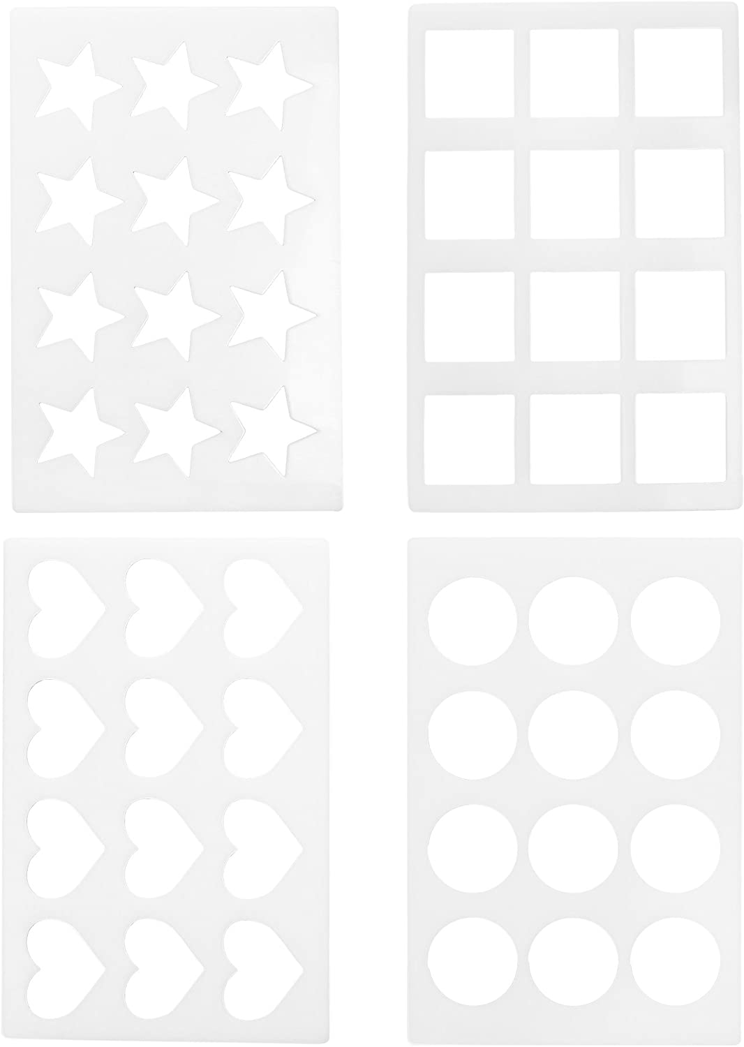 COSMOS 4 Pcs Different Designs Assorted Chocolate Chablon Cookies Stencil Mold for Cake Decoration