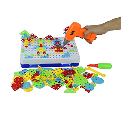 Ama-store 240PCS Creative Electric Drill Screw Puzzle Learning Toy, 3D Building Blocks DIY Jigsaw Toy Set STEM Educational Construction Set for Children Kids: Toys & Games