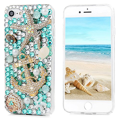 iPhone 6S Plus Case,iPhone 6 Plus Case (5.5 Inch) - Mavis's Diary 3D Handmade Blue Ocean Series Bling Diamonds Crystal Golden Anchor Starfish Shells Design [Full Edge Protection] Clear Hard PC Cover - Mavis 1 Light