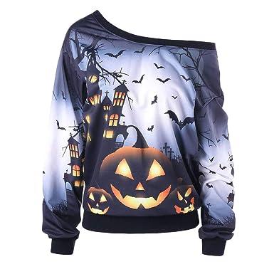 a725a9d1551 SEWORLD Women Halloween Party Skew Neck Pumpkin Print Sweatshirt Jumper Pullover  Tops  Amazon.co.uk  Clothing