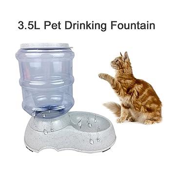 Dispensador de agua automático del cuenco de la comida del gato del alimentador del animal doméstico del alimentador 3.5L (color: gris): Amazon.es: ...