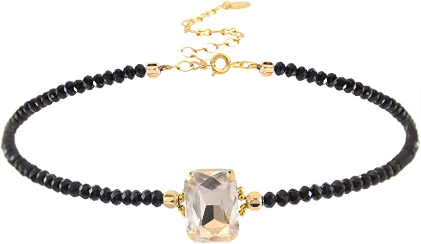 4 mm. Crystal Size Choker Necklace Crystal Beaded Choker  18K Gold Plated.Length 11 with 4 extender 13x18 mm Beads Size