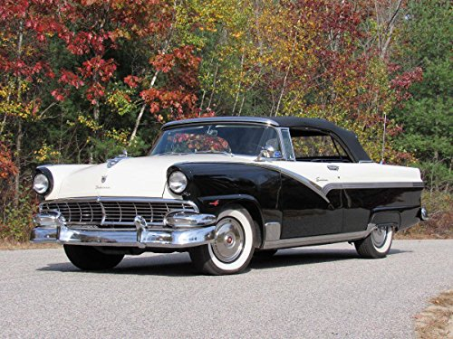 1956 Ford Sunliner Convertible Black/White Picture on Mouse Pad mousepad Classic Vintage Old Cars Hot Rods Speed Computer Desktop Supplies