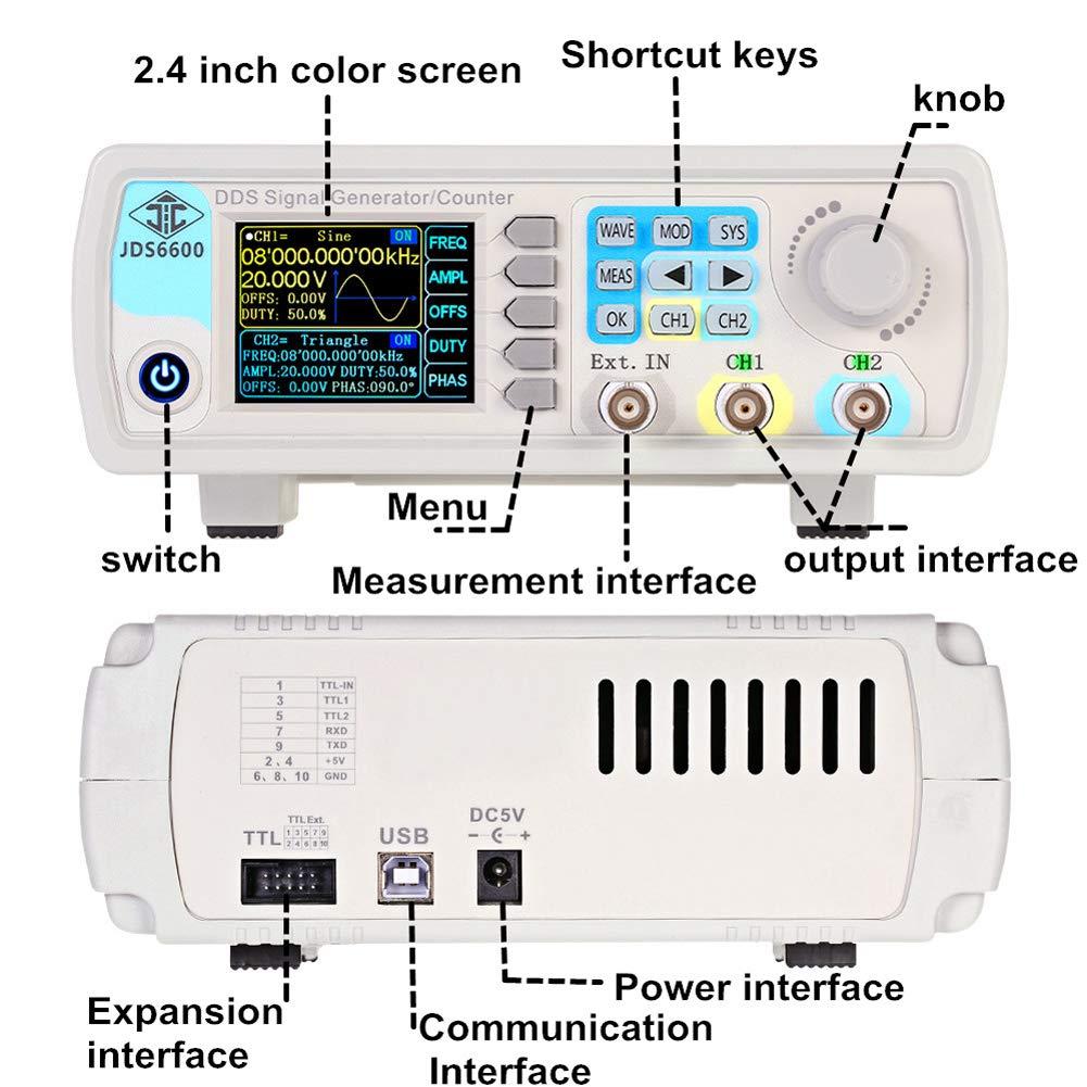 JDS6600-60M 60MHZ DDS Signal Generator Digital Control Dual-channe Frequency Meter