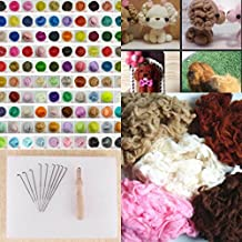 CHENGYIDA 70 Color Wool Fibre Roving + 5 Color Wool ALPACA + Basic Felting Tool for Needle Felting Hand Spinning DIY Fun Doll Needlework Raw Wool Baize Poke Fun